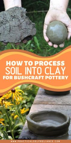 How to Process Soil into Clay for Pottery How did primitive potters harvest clay? People have been making pottery for millennia, and convenient hobby shops have only been a thing for a few decades at best. Before that, people harvested… Continue Reading → Diy Clay, Clay Crafts, Home Crafts, Fun Crafts, Crafts For Kids, Arts And Crafts, Survival Prepping, Survival Skills, Survival Shelter