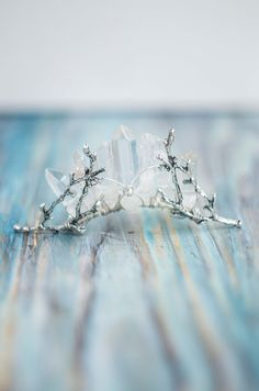 Quartz mini crown Crystal silver tiara bridal by moondomeuk