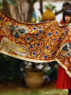 Multicolor - Red Handpainted Kalamkari Cotton Dupatta