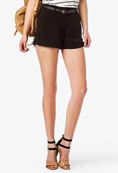High-Waisted Shorts w/ Skinny Belt | FOREVER 21 - 2034742665