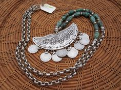 African Turquoise and Crescent Necklace OOAK by StoneandStem