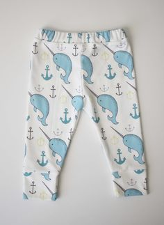 organic cotton leggings in narwhals and anchors from candy kirby designs...tempted these are adorable!