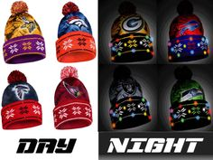 wholesale dealer 3c4a0 10d10 NFL Big Logo Light Up Printed Beanie