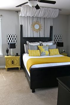 Medium Grey and mustard yellow bedroom with dark brown furniture pcs.