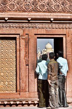 Looking at the Taj Mahal