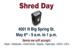 Come shred all your personal documents this Saturday, May 6th! 9am to 1pm - 4001 N Big Spring Street Branch. #midlandtexas #midlandtx #midlandcounty #ectorcounty #odessatx #odessatexas #banking #creditunion