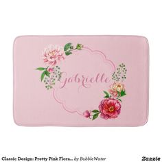 Classic Design: Pretty Pink Floral Frame Bath Mats