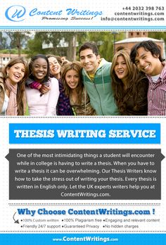 Contentwritings.com is the finest Thesis Writing Service, which is effective yet affordable. We offer great packages specifically for our Thesis Writing Service. We have a team of expert writers for writing a Thesis within the time line.