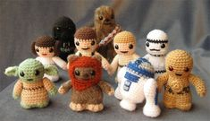 Star Wars Crochet Patterns. Start with Yoda, I think I shall.  Available as a kit now: http://www.amazon.com/Star-Wars-Crochet-Kits/dp/1626863261