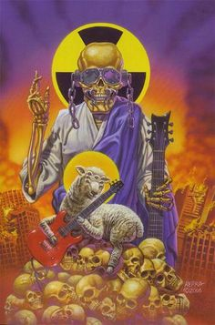 Vic Rattlehead by Ed Repka Hard Rock, Heavy Metal Art, Heavy Metal Bands, Rock Posters, Band Posters, Megadeth Albums, Vic Rattlehead, Woodstock, Musica Metal