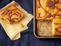 Let Them Eat: White Chocolate-Macadamia Nut Sheet Cake. Light brown sugar-based, this cake is all about warm flavors and comfort, and as an added bonus, a drizzle of salted caramel on top. The burnt sugar notes contrast perfectly with the rich, milky flavors of the cake. #recipe