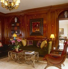 Room of the Day ~ another view of this casually elegant room - pine panelling stained mahogony by Brian McCarthy 11.9.2013
