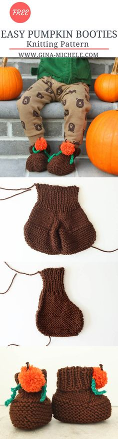 FREE knitting pattern for these Baby & Toddler Pumpkin Booties. They're knit flat so they are perfect for beginners!