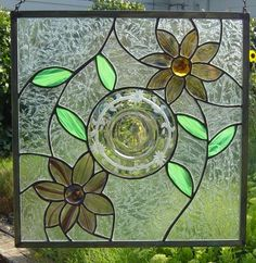 Using old glass plates in a panel.