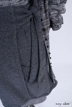 Highlands Duster Coat in Inkwell Softest Melange Knit, high water length. Blanchefleur Sash in Parchment/Cordelia Rose Cotton Voile. Highlands Skirt in Inkwell/Wolfie Grey Herringbone. Elliot Dress in Inkwell Softest Melange Knit. By Ivey Abitz.