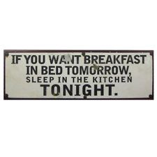 Rustic Vintage If You Want Breakfast Sleep In The Kitchen Metal Wall Sign Plaque