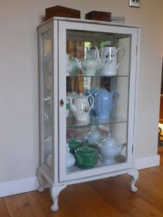 1950s Glass Fronted Lockable Shabby Chic Display Or Curio Cabinet