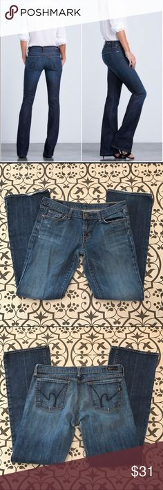 """Citizens of humanity Jeans Kelly #001 Bootcut 31 Low waist stretch jeans Distressed with some fraying. Perfectly worn in. Approx measurements: length 39"""" inseam 31"""" rise 7.5"""" Citizens of Humanity Jeans Boot Cut"""