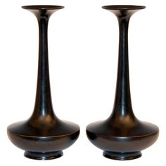 Pair of Vintage Japanese Black Patinated Bronze Bottle Vases | From a unique collection of antique and modern metalwork at https://www.1stdibs.com/furniture/asian-art-furniture/metalwork/