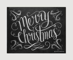 Merry Christmas Chalk Art Print - Chalkboard Christmas Decor - Hand Lettered Merry Christmas Sign - Chalkboard Sign - Chalkboard Art by LilyandVal on Etsy https://www.etsy.com/listing/166828624/merry-christmas-chalk-art-print