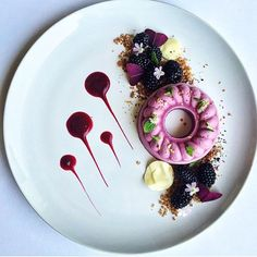 Raw vegan blackberry cheesecake, dates & walnut crumble, blackberries, white chocolate, berry gel & dried Persian rose. By @royalebrat #DessertMasters
