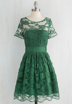 Adrift on a Cloud Dress in Emerald by BB Dakota - Green, Solid, Lace, Special Occasion, Wedding, Party, Bridesmaid, A-line, Better, Variation, Homecoming, Woven, Exclusives, Scoop, Holiday Party, Sheer, Mid-length, WPI, Prom
