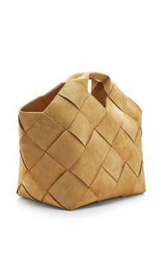 Small Gold Suede Woven Basket by Loewe for Preorder on Moda Operandi