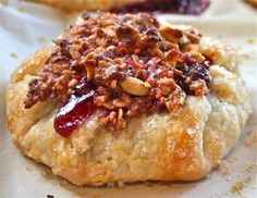 Saskatoon Berry Galette with Raspberry Granola Topping.