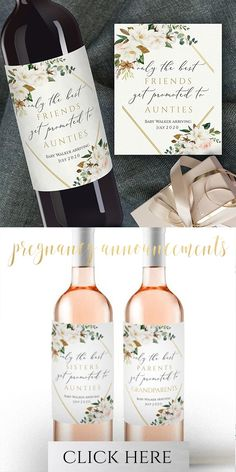 Wine Basket Gift Ideas Discover Best Friends Get Promoted Pregnancy Baby Announcement Personalized Wine Label Promoted to Aunt Gift Custom Wine Labels Editable Wine Labels Personalized Wine Labels, Custom Wine Labels, Wine Bottle Labels, Etiquette Champagne, Wine Gift Baskets, Basket Gift, Wedding Wine Labels, Aunt Gifts, Printing Labels