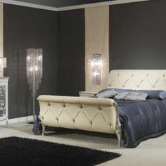 Art Deco style bedroom set… Bed with white leather headboard matched to chest of drawers and night tables white and silver finish and wall mirror. All made in Italy, high end furniture. Leather Headboard, Leather Bed, White Leather, Distressed Headboard, Art Deco Furniture, Bedroom Furniture, Furniture Ideas, Classic Furniture, Luxury Furniture