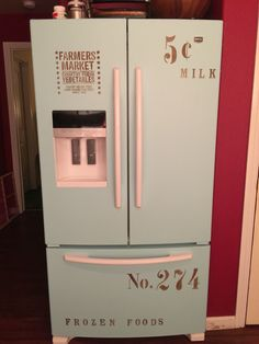 Refrigerator makeover with chalk paint and stencils