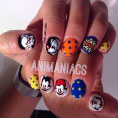 If you remember the Animaniacs theme song, you know it's catchy. These Animaniacs nails are just as brilliant.