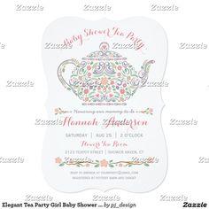 Elegant Tea Party Girl Baby Shower • Teapot Card
