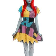 Sally Dress Nightmare Before Christmas Cosplay dress from Tim Burton's The Nightmare Before Christmas with a Sally inspired design. Black crinoline not included. Adult Disney costume. Size medium. Perfect for Halloween and Disney lovers! Hot Topic Dresses