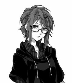 Anime hoodied girl with glasses