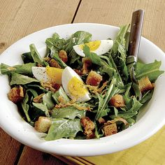 Dandelion Salad with Pancetta, Eggs, and Croutons - FineCooking