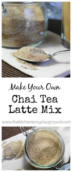 Make your own Chai Tea Latte mix at home ... so yummy, and so easy. Makes for the perfect little gifts! www.thekitchenismyplayground.com