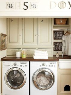 When it comes to the laundry room, storage space is typically limited, but it is one of the more important features homeowners are looking for in regards to this space. If space is limited, consider taking advantage of all the square footage possible by using up wall space for shelving and extra cabinets. That way you can keep every day laundry needs handy and at your finger tips instead of storing them in another room of your home.