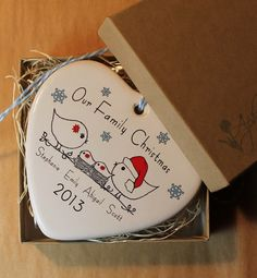 PERSONALIZED  Family Christmas Porcelain by aphroditescanvas, $28.00