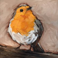 Red breasted Robin painting 5x5 original by LaveryART on Etsy