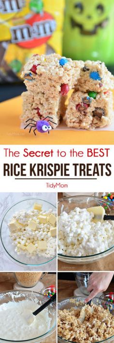 if you've ever EATEN a homemade Rice Krispies Treat you've probably had some that are melt in your mouth, sticky gooey good.and you've probably had some that were dry, hard (or fall apart soft) or just plain bland. Today I'm sharing the secret to getti Best Rice Krispie Treats Recipe, Rice Crispy Treats, Yummy Treats, Sweet Treats, Köstliche Desserts, Delicious Desserts, Dessert Recipes, Yummy Food, Popcorn Recipes