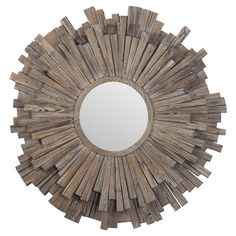 Awash in a light walnut stain, this eye-catching wood mirror showcases a sunburst-inspired silhouette for artful appeal.   Product:...