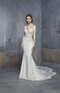 Madeline Gardner New York - Wedding dresses and bridal gowns New York Wedding Dresses, Designer Wedding Dresses, Bridal Dresses, Wedding Gowns, Gowns With Sleeves, Wedding Dress Sleeves, Lace Sleeves, Flare, Silhouette