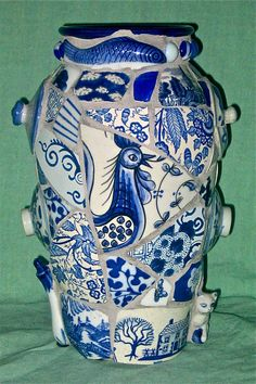 Blue Rooster Vase by Norma Ryan