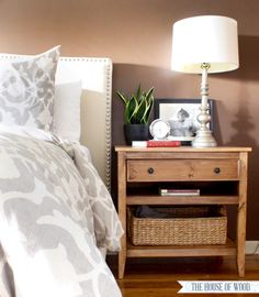 Free DIY Nightstand Plans - Learn how to build a DIY nightstand with built-in charging station and pull-out writing tray. Tutorial by Jen Woodhouse. Furniture Projects, Bedroom Furniture, Home Furniture, Bedroom Decor, Furniture Stores, Bedroom Night, Bedroom Ideas, Wood Projects, Master Bedroom
