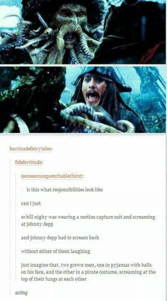 acting like a boss. Johnny Depp and Bill Nighy in Pirates Of The Caribbean My Tumblr, Tumblr Funny, Funny Memes, Funny Facts, Movie Facts, Captain Jack Sparrow, Will Turner, Johnny Depp, Fandoms