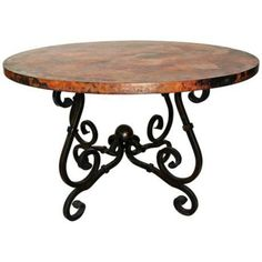 "Prima 54"" Round French Dining Table with Copper Top"