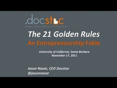Jason Nazar, co-founder and CEO of Docstoc, revisits his undergrad alma-matta to tell about his journey as an entrepreneur and talk about his philosophy of the 21 Golden Rules of Entrepreneurship.