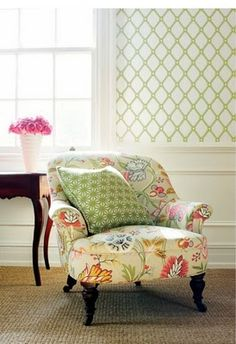 Ingrid wallpaper, Cayman fabric on chair, Starburst Woven fabric on pillow from Thibaut available at Aka Room Services Home Interior, Interior Design, Chair Fabric, Chair Pillow, Fabric Walls, Pillow Fabric, Take A Seat, Family Room, Accent Chairs