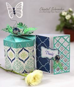 Mixing files from different kits together is so fun! Chantel's thank you gift is the Blossom Box from GIFT BOXES SVG KIT embellished with roses and greenery from MOTHERS GARDEN SVG KIT. The butterfly and card are both from HIGH SKIES SVG KIT. Instead of using the anchor on the card, Chantel added a label from MOTHERS GARDEN SVG KIT! See what I mean! Mix and match and see what you come up with! Using the same paper, Chantel created a beautiful set for a lucky person! Are you the one!